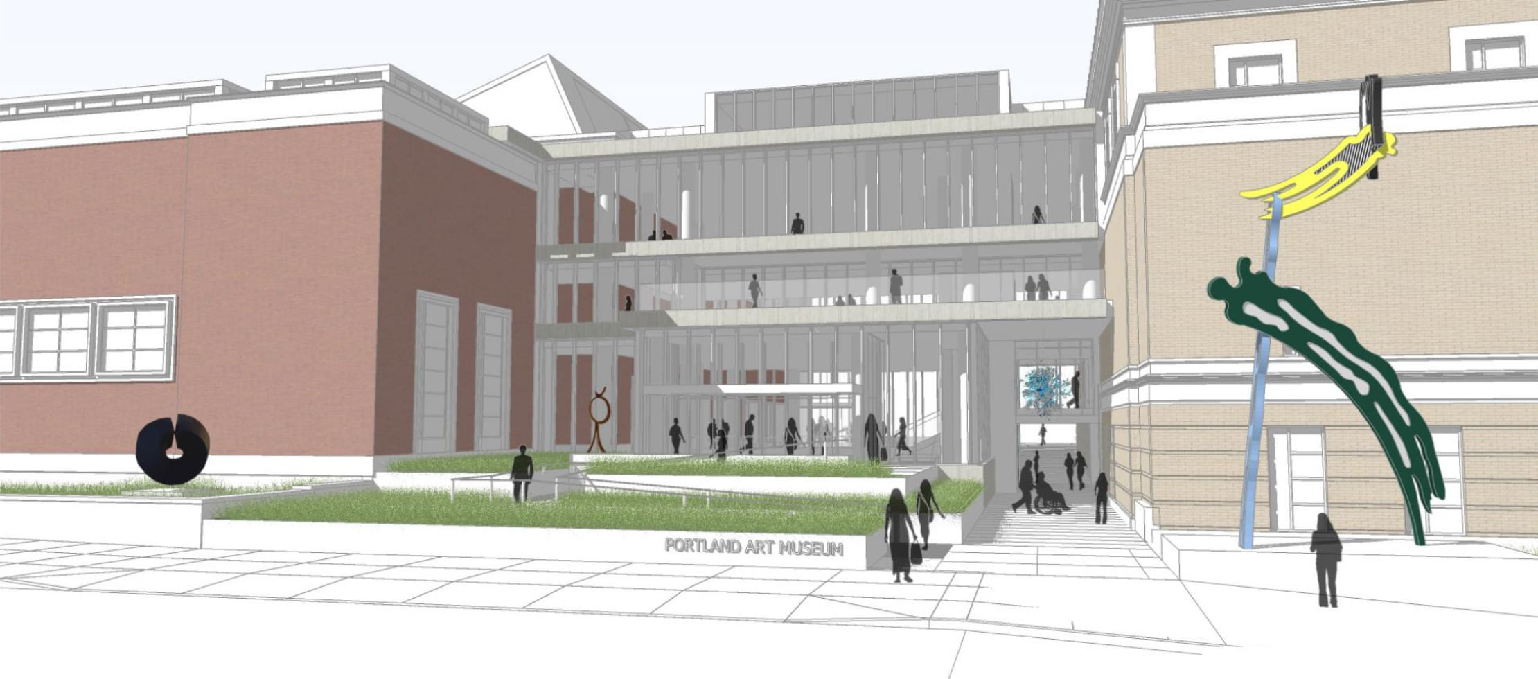 Architectural drawing of the current east plaza design concept.