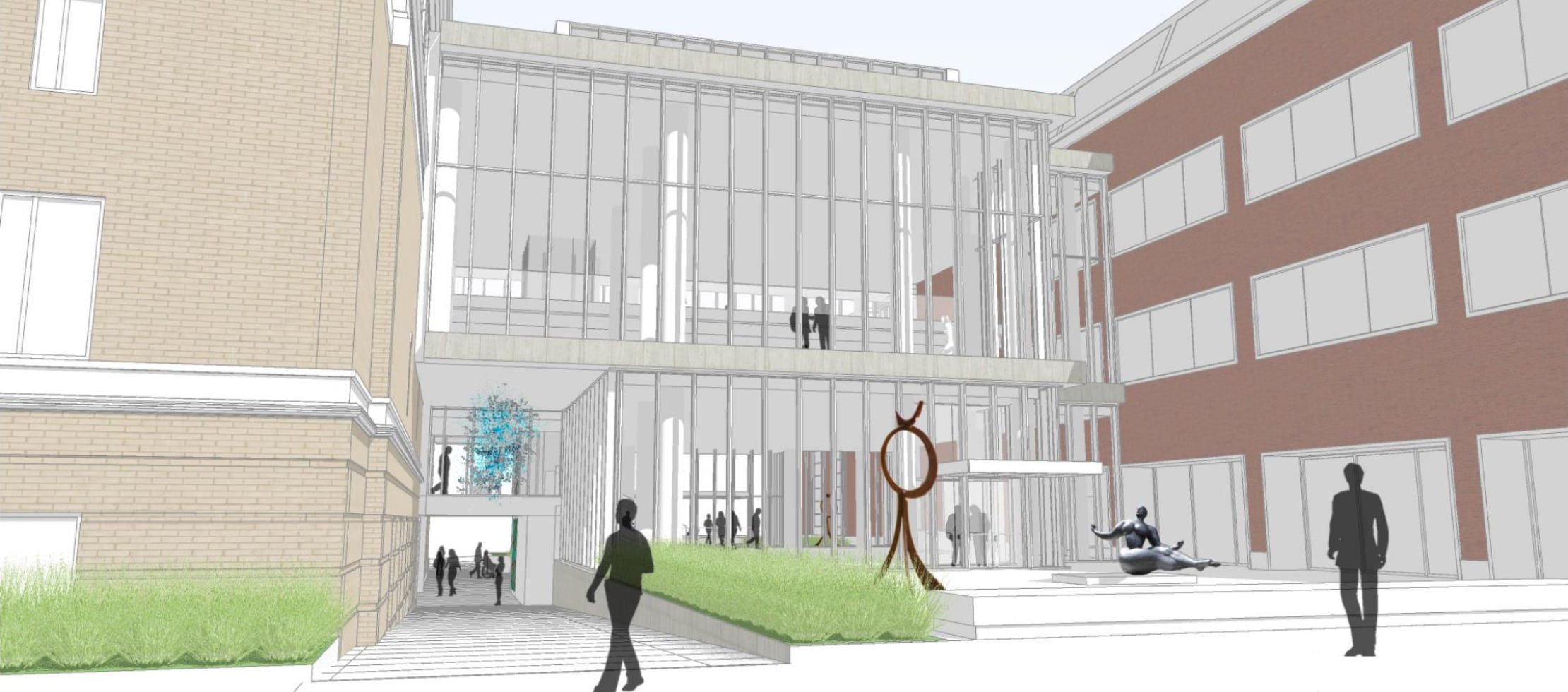 Architectural drawing of the current west plaza design concept