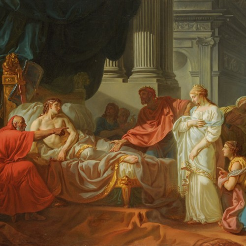 Jacques-Louis David, Erasistratus Discovers the Cause of Antiochus's Disease, 1774, Oil on canvas, 47 1/4 x 61 in., École des Beaux-Arts, Paris (PRP 18), Courtesy American Federation of Arts.