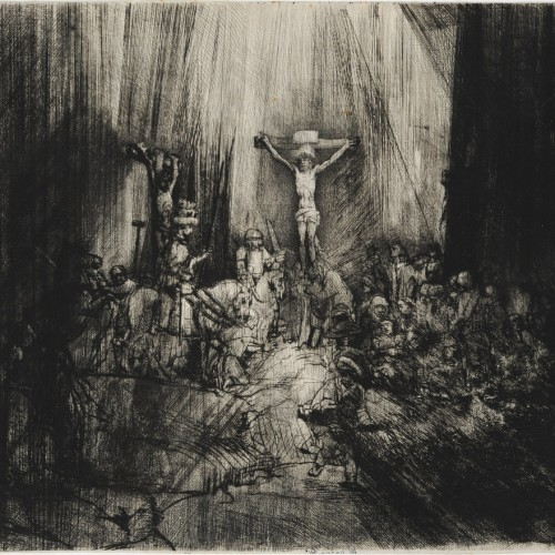 Rembrandt van Rijn, The Three Crosses, 1653, Drypoint and burin, reworked, on Japanese paper, 15 3/8 x 17 7/8 in., École des Beaux-Arts, Paris (Est 1020), Courtesy American Federation of Arts.