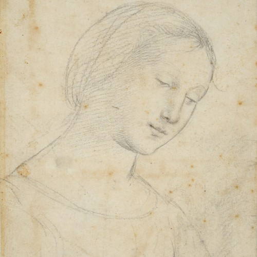 Raphael (Raffaello Sanzio), Study of a Woman, Half-Length, Three-Quarters to the Right, Eyes Downcast, 1502, Black chalk over preliminary indications with a stylus, 8 9/16 x 6 1/8 in., École des Beaux-Arts, Paris (EBA 466), Courtesy American Federation of Arts.