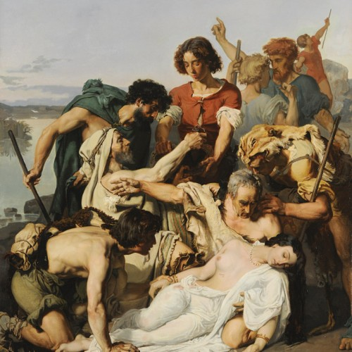 Paul-Jacques-Aimé Baudry, Zenobia Discovered by Shepherds on the Banks of the Araxes, 1850, Oil on canvas, 57 1/16 x 44 1/2 in., École des Beaux-Arts, Paris (PRP 97), Courtesy American Federation of Arts.