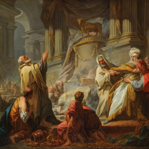 Jean-Honoré Fragonard, Jeroboam Sacrificing to the Idols, 1752, Oil on canvas, 43 7/8 x 56 1/2 in., École des Beaux-Arts, Paris (PRP 7), Courtesy American Federation of Arts.