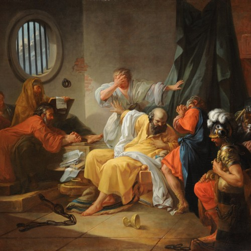Jacques-Philippe-Joseph de Saint-Quentin, Death of Socrates, 1762, Oil on canvas, 43 7/8 x 54 1/2 in., École des Beaux-Arts, Paris (PRP 10), Courtesy American Federation of Arts.