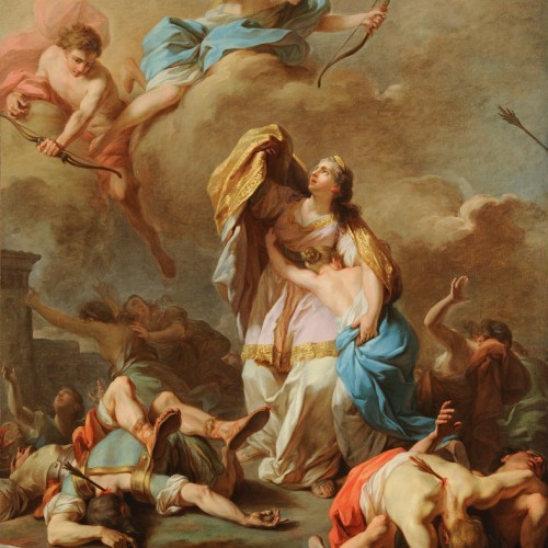 Pierre-Charles Jombert, Apollo and Diana Killing the Children of Niobe, 1772, Oil on canvas, 53 3/16 x 44 1/8 in., École des Beaux-Arts, Paris (PRP 17), Courtesy American Federation of Arts.