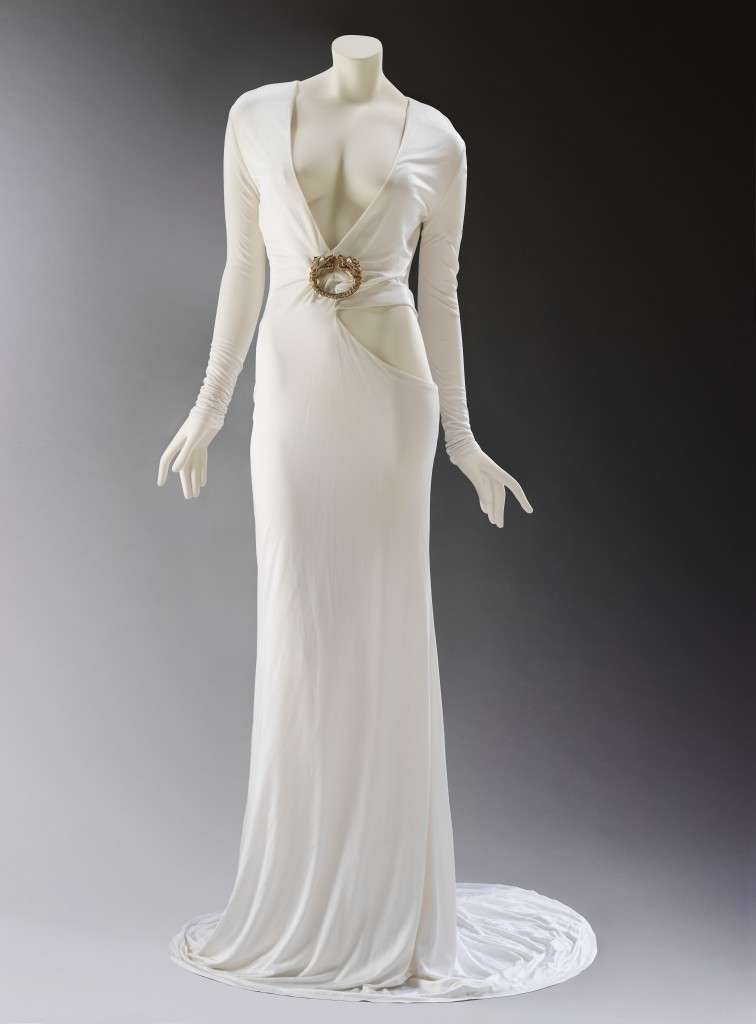 Tom Ford for Gucci, White Silk Viscose Dress with Gold Dragon Brooch, Autumn/Winter 2004/05, Photo © Victoria and Albert Museum, London.