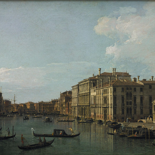 Giovanni Antonio Canal, known as Canaletto, The Grand Canal, Venice, Looking South-East from San Stae to the Fabbriche Nuove di Rialto, c. 1738, Oil on canvas, 18 1/2 x 30 5/8 inches, Paul G. Allen Family Collection