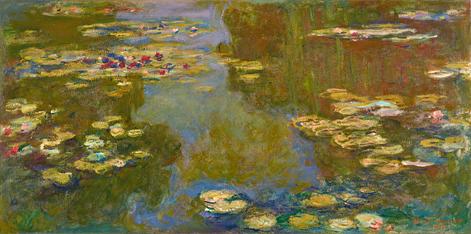 Claude Monet, Le bassin aux nymphéas, 1919, Oil on canvas, 39 1/2 x 79 inches, Paul G. Allen Family Collection
