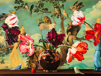 Above: Sherrie Wolf, Tulips with Concert of Birds; Reference: Frans Snyder, 1579–1657, 2008, Acrylic on canvas, Oil on canvas, Collection of Arlene and Harold Schnitzer.