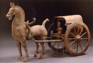China, Sichuan province (Chinese), Horse and Carriage, 1st century/2nd century CE, gray earthenware with traces of pigment, The Arlene and Harold Schnitzer Collection of Early Chinese Art, no known copyright restrictions, 2004.114.8A,B