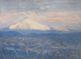 Childe Hassam (American, 1859-1935), Mount Hood, 1908, oil on canvas, Gift of Mr. Henry Failing Cabell, no known copyright restrictions.