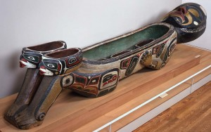 Unknown Kwakwaka'wakw artist (Kwakwaka'wakw), Dzunuk'wa Feast Dish, ca. 1900, cedar and paint, Museum Purchase: Indian Collection Subscription Fund, Rasmussen Collection of Northwest Coast Indian Art, no known copyright restrictions, 48.3.523A.