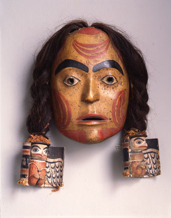 Unknown Nisga'a artist, Mask, ca. 1860, human hair, paint, cedar bark, and wood, Museum Purchase: Helen Thurston Ayer Fund, no known copyright restrictions, 46.14.