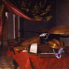 Evaristo Baschenis, Still Life with Musical Instruments in an Interior, 1660s, Oil on canvas, Otto Naumann, Ltd., New York, Photo: Otto Naumann, Ltd., New York.