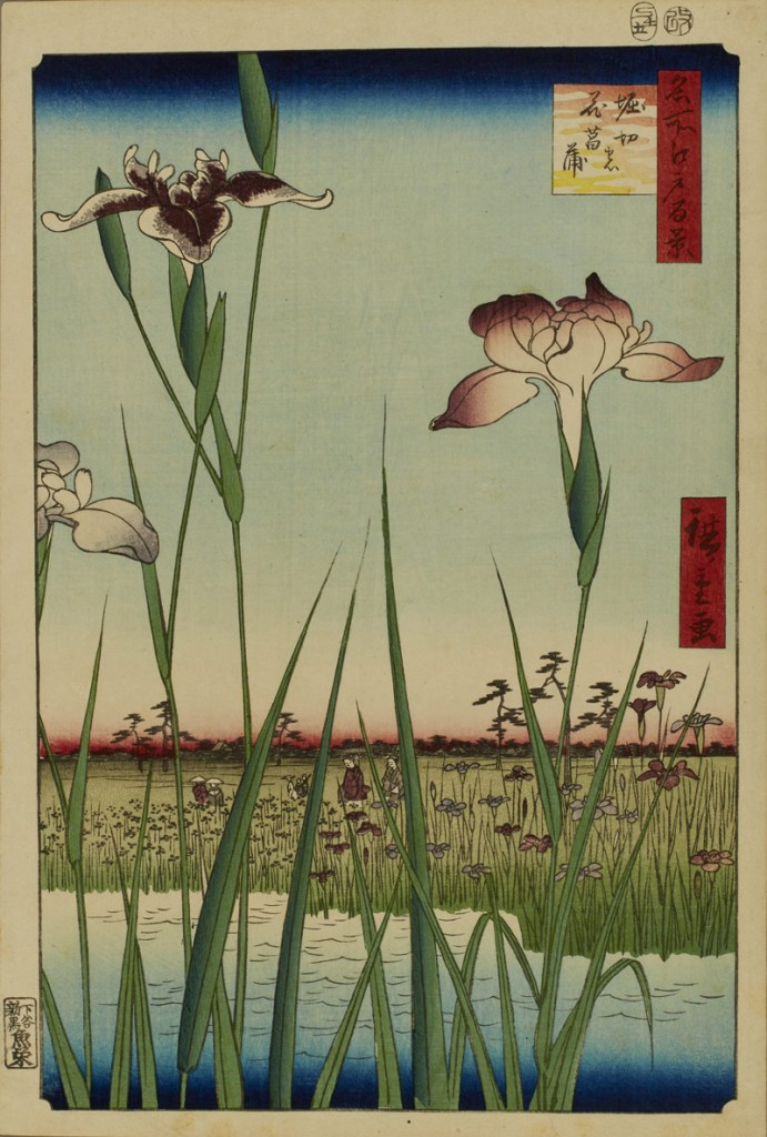 Utagawa Hiroshige (Japanese, 1797–1858), Horikiri no hana shōbu (Horikiri Iris Garden), No. 56 from the series Meisho Edo hyakkei (One Hundred Views of Famous Places in Edo), 1857, 11th month, color woodblock print on paper, Museum Purchase: Funds provided by Asian art auction proceeds.