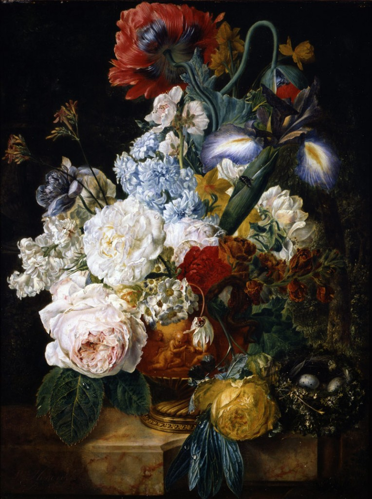 Wybrand Hendriks (Dutch, 1744-1831), Flower Still Life, 1810/1830, oil on panel, Gift of the Honorable George Rossman in memory of his wife, Loreta Showers Rossman.