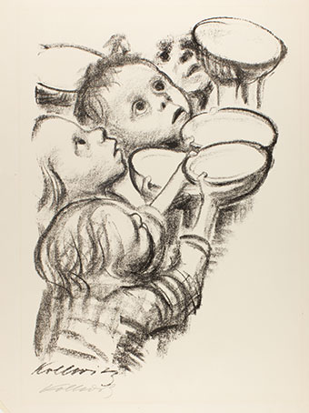 Käthe Kollwitz (German, 1867-1945), Deutschlands Kinder hungern! (Germany's Children are Starving!), 1924, lithograph on cream wove paper, The Vivian and Gordon Gilkey Graphic Arts Collection.