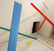 Joel Shapiro (American, born 1941), Portland, 2014. Wood, casein, and cord installation, dimensions variable. © Joel Shapiro.