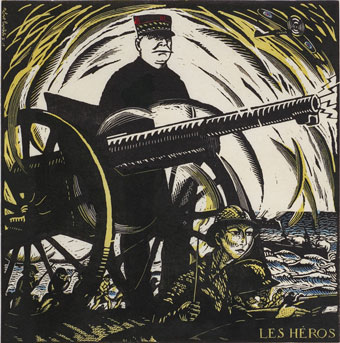 Robert Bonfils (French, 1886–1972), Les Héros (Heros), from the portfolio Images Symboliques de la Grande Guerre (Symbolic Images of the Great War), 1916, hand-colored woodcut on wove paper. Museum Purchase: Funds provided by the Graphic Arts Council.