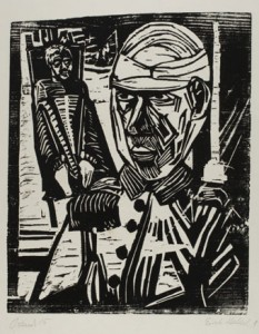 Erich Heckel (German, 1883–1970), Zwei Verwundete (Two Wounded Men), 1915, woodcut on wove paper. Museum Purchase: Funds provided by the Graphic Arts Council.