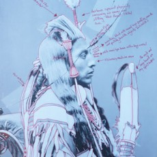 Wendy Red Star, Peelatchiwaaxpáash/Medicine Crow (Raven), 1880, Artist-manipulated digitally reproduced photograph by C.M. (Charles Milton) Bell, National Anthropological Archives, Smithsonian Institution.