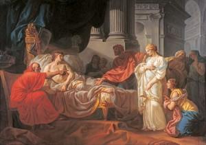 Jacques-Louis David, Erasistratus Discovers the Cause of Antiochus' Disease, 1774, Oil on canvas. École des Beaux-Arts, Paris (PRP 18). Photo courtesy American Federation of Arts.