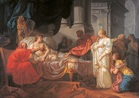 Jacques-Louis David, Erasistratus Discovers the Cause of Antiochus' Disease, 1774, Oil on canvas. École des Beaux-Arts, Paris (PRP 18). Photo courtesy American Federation of Arts.