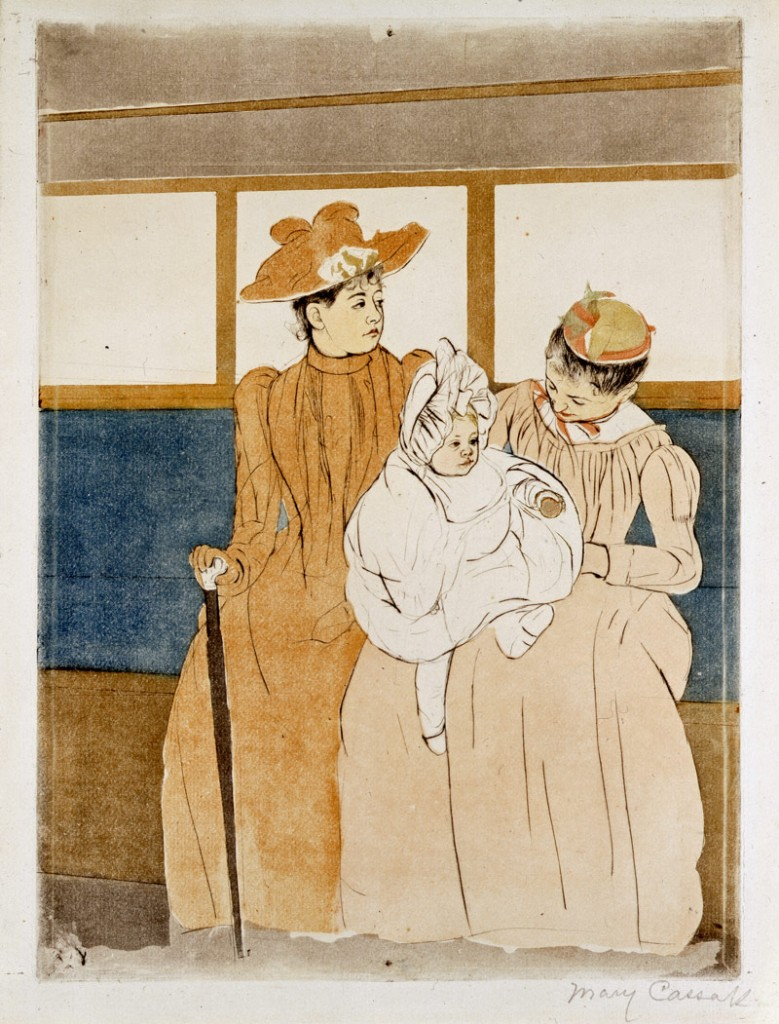 Mary Cassatt (American, 1844-1926), Dans l'omnibus (In the Omnibus), from the series Ten Color Aquatints on the Daily Life of French Women, 1891, drypoint and color aquatint on paper, Bequest of Winslow B. Ayer.