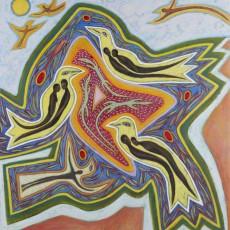 Betty LaDuke (American, born 1933), Africa, Mandala, 1991, Acrylic on canvas, Gift of the artist.