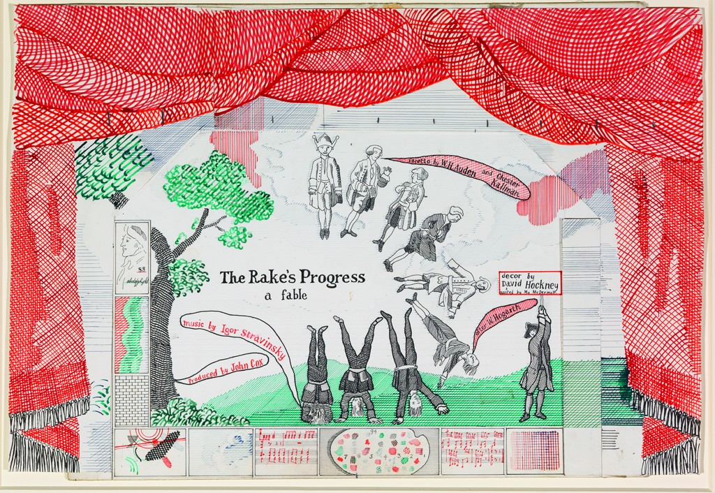 "David Hockney (English, born 1937), Drop Curtain for ""The Rake's Progress,"" 1975–79, Collection of the David Hockney Foundation. © David Hockney."