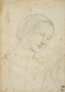 Raphael, Study of a Woman, Half-Length , Three-Quarters to the Right, Eyes Downcast
