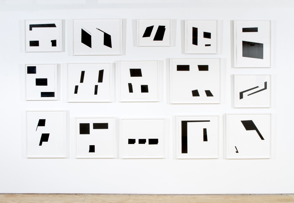 Victoria Haven, Jump Cuts, 2014, Ink on Bristol vellum, vinyl text on wall, 67 x 222 inches