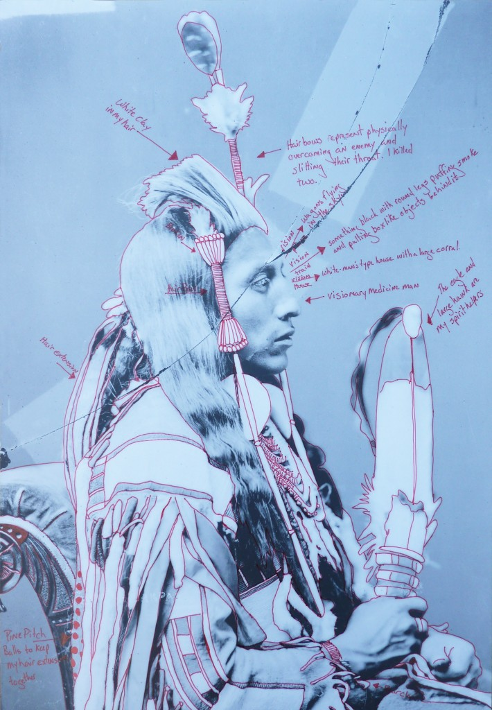 Wendy Red Star, Peelatchiwaaxpáash/Medicine Crow (Raven), 1880, artist-manipulated digitally reproduced photograph by C.M. (Charles Milton) Bell, National Anthropological Archives, Smithsonian Institution. Courtesy of the artist.