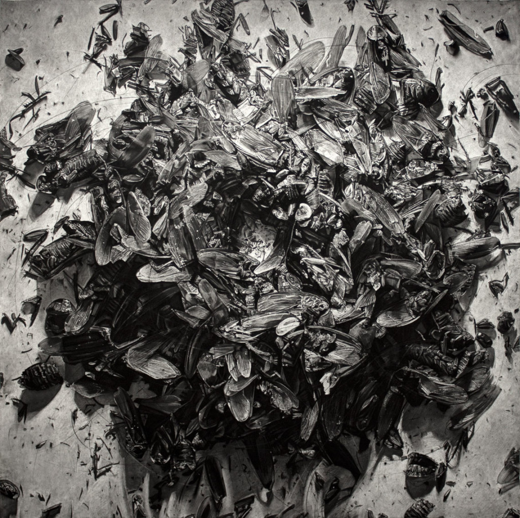 AUNIVERSAL PICTURE 3, 2013, Charcoal on paper, 85 × 85 inches
