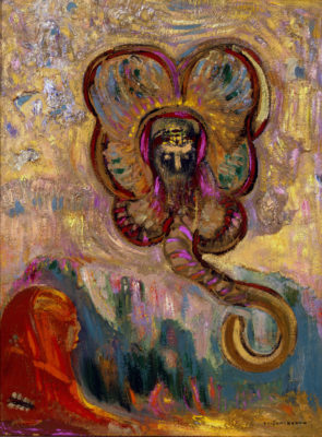 Odilon Redon (French, 1840-1916), Oannes et  le Sphinx, 1910, oil on wood, Gift of Dr. and Mrs. Edwin Binney, 3rd, no known copyright restrictions, 67.28