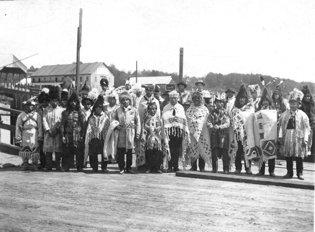1906 delegation of British Columbia Salish chiefs. Weavers recreated these woven chiefly robes and headdresses for the Restoring the Breath exhibition.