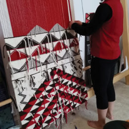 Susan Pavel at her loom, March 2016