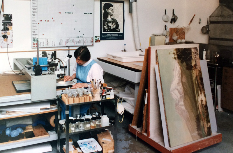 Conservator working in the lab.