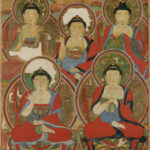 Attributed to Ui-gyeom (Korean, active late 17th/18th century), Five Buddhas, 1725, Ink and mineral pigments on hemp, Songgwangsa Monastery, Korea. Photo courtesy National Research Institute of Cultural Heritage, Korea.
