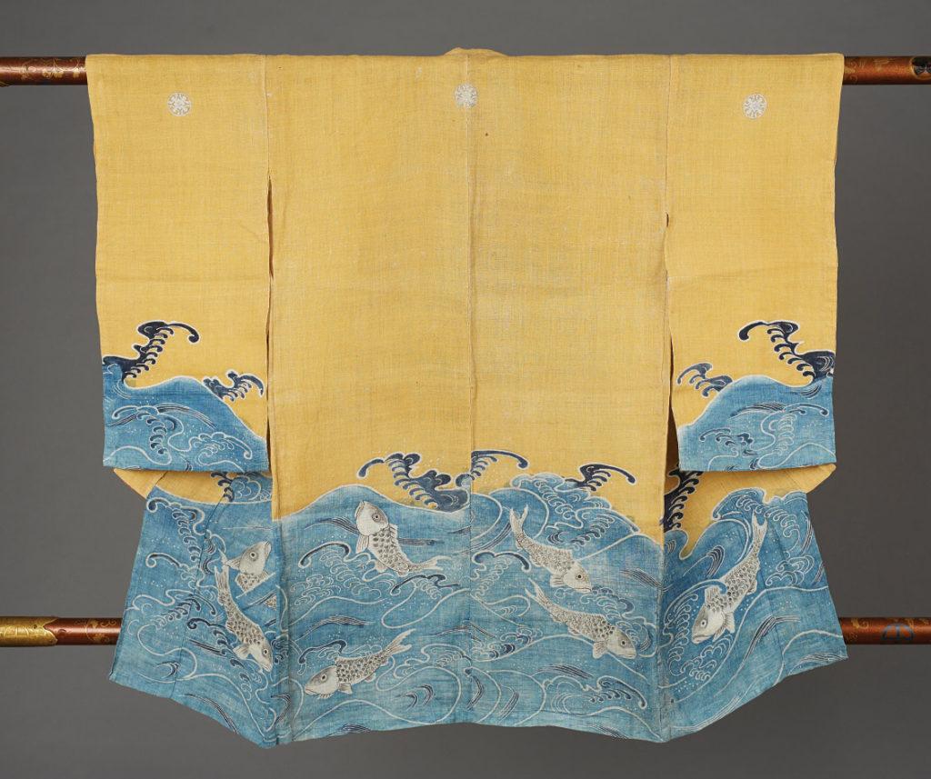 Miyamairi Kimono with Sea Bream Design