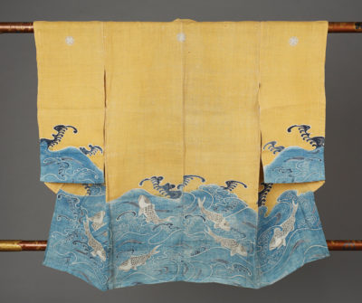 Miyamairi Kimono with Sea Bream Design