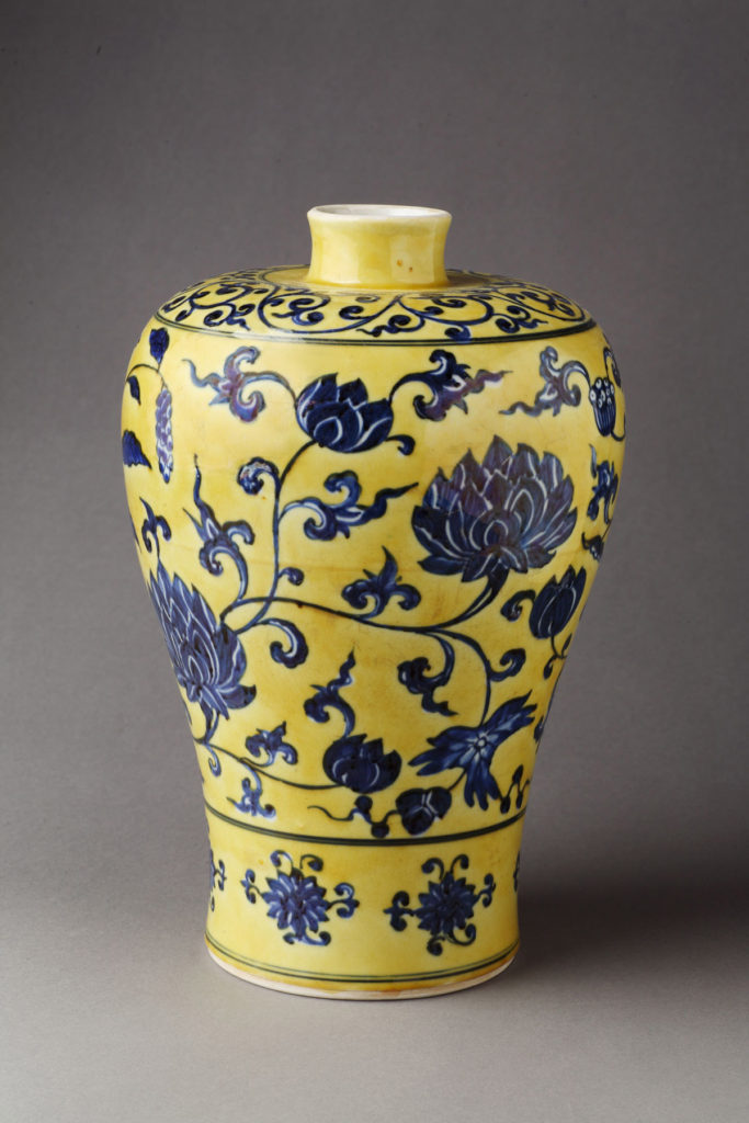 Jingdezhen kilns, Jiangxi Province, China, Baluster Vase with Peony Scroll Design, 15th/early 16th century