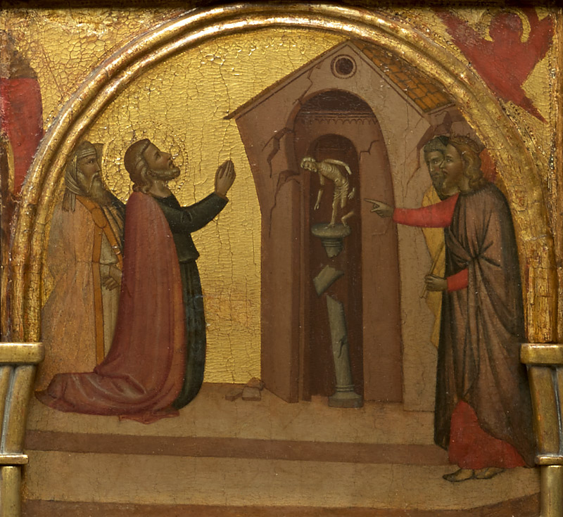 Ghissi panel, Saint John Causes a Pagan Temple to Collapse