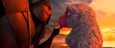 Kubo and the Two Strings (Film Still), A cheeky moment between Beetle and Monkey. KUBO AND THE TWO STRINGS ©2016, TWO STRINGS, LLC