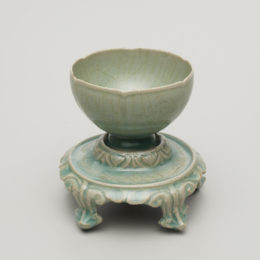 Korea, Sadang-ri, Gangjin kilns, Jeollanam-do province, Wine Cup and Stand, 12th century, stoneware with molded and incised design under celadon glaze, Portland Art Museum: John Yeon Collection, gift of Richard Louis Brown, 2014.177.1
