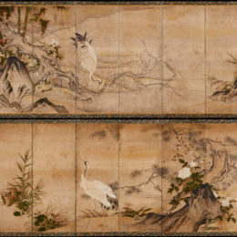 Japan, unknown artist, Bird and Flower Screens in the Style of Sesshū Tōyō, 17th century, pair of six-panel screens, ink on paper, Lent by Richard Louis Brown