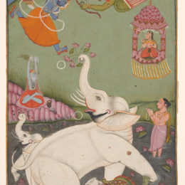 India, Rajasthan, Bundi, Liberation of the King of the Elephants. ca. 1770, ink, opaque watercolor, and gold on paper, Lent by Richard Louis Brown