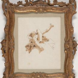 Giovanni Battista Tiepolo (Italian, 1696-1770), Figure aloft seen di sotto in sù, 18th century, pen and ink, brush and wash, Collection of Richard Louis Brown