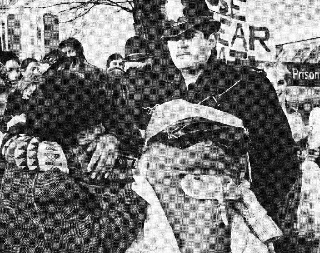 Women leaving Holloway Prison, Holloway, London, UK, March 1983, unattributed photograph from Greenham Women Everywhere by Alice Cook and Gwyn Kirk, Pluto Press Limited, London, 1983.