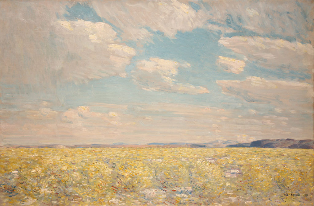 Childe Hassam, Afternoon Sky, Harney Desert, 1908, oil on canvas, Gift of August Berg, Henrietta E. Failing, Winslow B. Ayer, William D. Wheelwright, I.N. Fleischner, and the D.P. Thompson Estate, public domain, 08.1